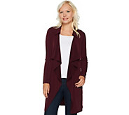Every Day by Susan Graver Liquid Knit Cascade Front Long Cardigan - A293642