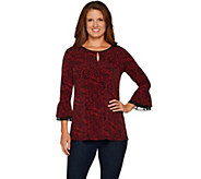 Susan Graver Printed Liquid Knit Tunic with Keyhole - A297142