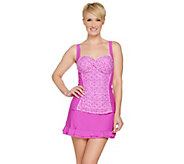 As Is Isaac Mizrahi Live! Plaid Tankini Swimsuit with Skirt - A299342