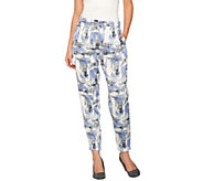 As Is H by Halston Block Print Pull-On Jogger Pants w/ Drawstring - A300942