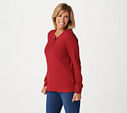 Denim & Co. Essentials Long Sleeve Thermal Henley - A203543