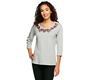 Quacker Factory Pave Heart 3/4 Sleeve T-shirt - A230543
