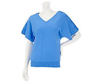 Denim & Co. V-neck Short Sleeve Sweater with Lace Applique - A232643