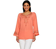 Bob Mackies Embroidered Blouse with Sequin Detail & Side Slits - A233343