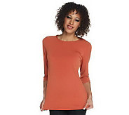 As Is Susan Graver Essentials Knit 3/4 Sleeve Crew Neck Top - A240943