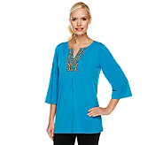 Bob Mackies Embroidered and Beaded 3/4 Sleeve Knit Top - A251743