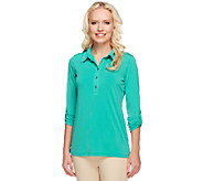 Susan Graver Liquid Knit Henley Top with 3/4 Roll Tab Sleeves - A252243