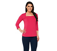 Bob Mackies Square Neck Jersey Knit 3/4 Sleeve Top - A254143