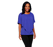 Susan Graver Liquid Knit Short Sleeve Peasant Top with Overlay - A254343
