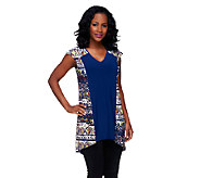 Attitudes by Renee Print & Solid V-Neck Tunic - A254643