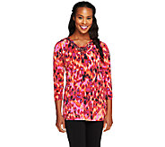 Susan Graver Printed Liquid Knit Embellished Top - A257943