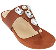 Isaac Mizrahi Live! Leather Thong Sandals with Embellishments - A264243