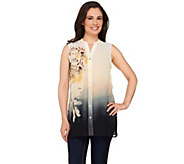 Susan Graver Printed Sheer Chiffon Sleeveless Shirt - A265843