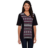 Denim & Co. Tribal Printed Elbow Sleeve Colorblock T-shirt - A266443