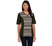 Denim & Co. Tribal Printed Elbow Sleeve Colorblock T-shirt - A266443