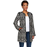Dennis Basso Printed Zip Front Long Jacket w/ Pockets - A268043