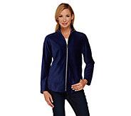 Susan Graver Weekend Corduroy Zip Front Knit Jacket - A269243