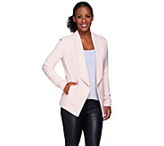 H by Halston Woven Flyaway Blazer with Ribbed Arm Panel - A270243