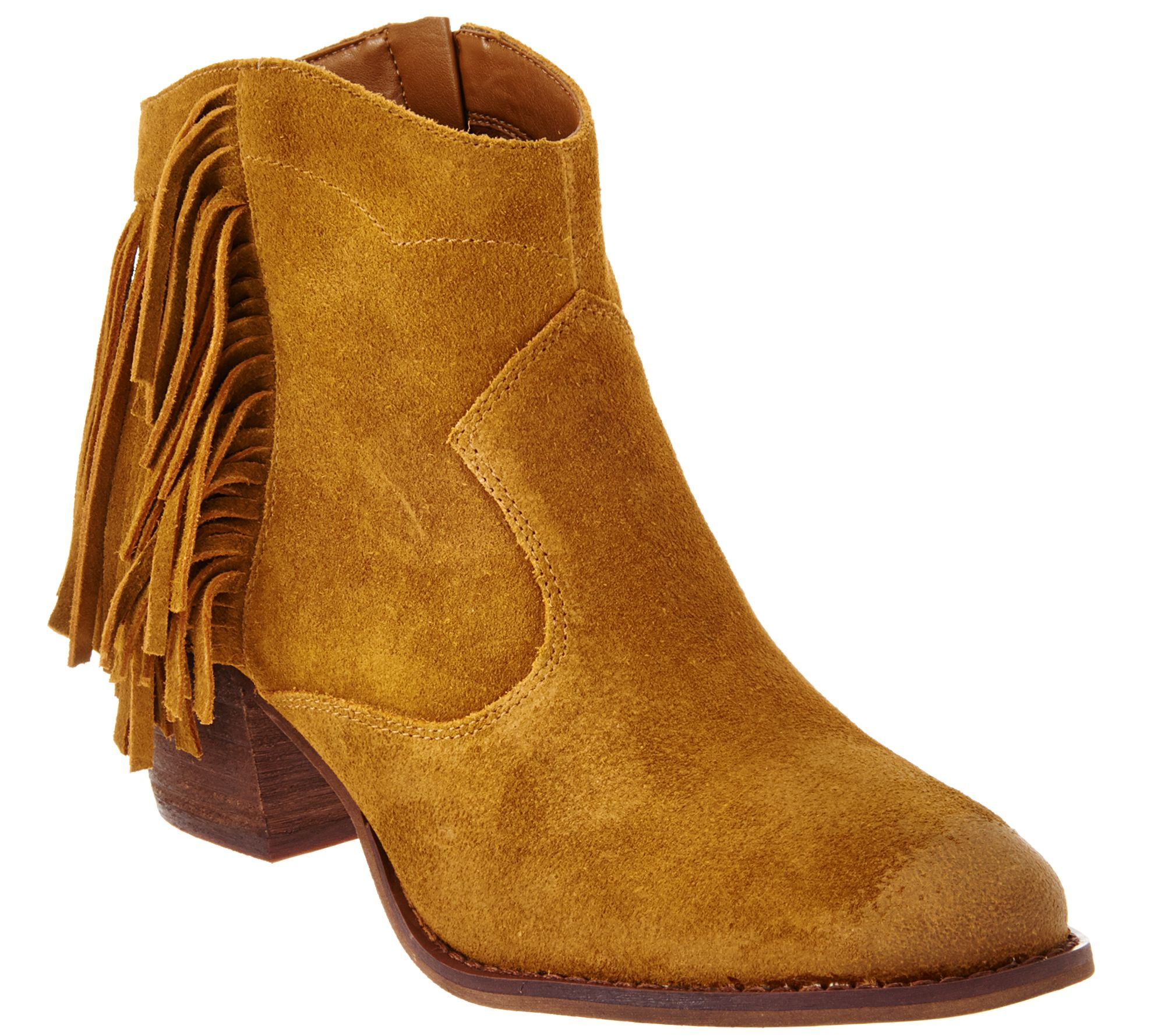 Marc Fisher Suede Fringe Ankle Boots - Sade - Page 1 — QVC.com