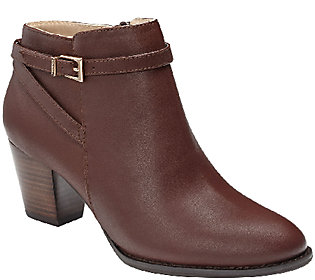 Vionic Orthotic Leather Ankle Boots w/ Buckle - Upton