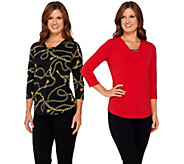 Susan Graver Printed & Solid Liquid Knit Set of 2 Tops w/ Chain Trim - A272343