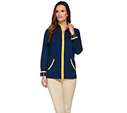 Bob Mackies Zip Front Jacket with Contrast Trim Detail - A273543