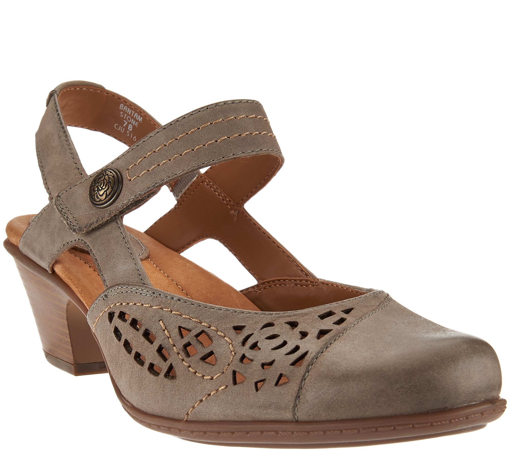 Earth Leather Perforated Sandals w/ Front Strap - Bantam