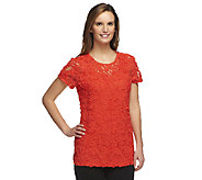 As Is George Simonton Jacquard Knit T-Shirt with Milky Knit Back - A275743