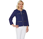Bob Mackies Textured Bracelet Sleeve Jacket with Zipper Detail - A276143