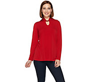 Susan Graver Liquid Knit Long Sleeve Tunic with Keyhole Trim - A279743