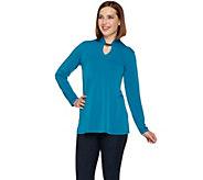 Susan Graver Liquid Knit Long Sleeve Tunic with Keyhole Trim - A279743
