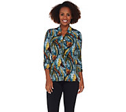 Susan Graver Printed Liquid Knit 3/4 Sleeve Top with Zipper - A281143