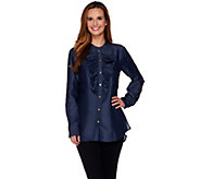 C. Wonder Chambray Button Front Tunic with Ruffle Detail - A281443