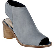 As Is Clarks Somerset Suede Peep-toe Stack Heel Booties Glacier_Charm - A284543