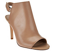 As Is H by Halston Peep Toe Slingback Leather Bootie - Ivy - A285243