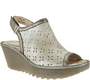 FLY London Leather Perforated Wedges - Ybel - A286443