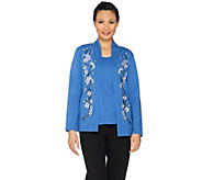 Bob Mackies Blossom Embroidered Cardigan and Knit Tank Set - A288443