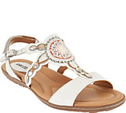 Earth Leather Embellished Sandals - Sunbeam - A289843