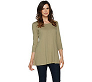 LOGO by Lori Goldstein Slub Knit 3/4 Sleeve Swing Top - A290243