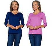 Quacker Factory Set of 2 Chic Sparkle Cut-Out V-Neck Knit T-shirts - A291843