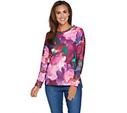 Isaac Mizrahi Live! Photoreal Floral Quilted Sweatshirt - A294543