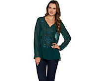 LOGO Lavish by Lori Goldstein Chiffon Top with Beading & Embroidery - A296543