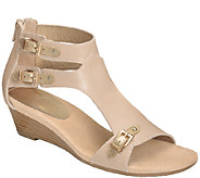 Aerosoles Heel Rest Leather Wedge Sandals -Yet Another - A335043