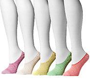 MUK LUKS Womens Microfiber Foot Liners 5-PairSock Pack - A335343