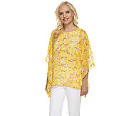 Bob Mackies Sheer Printed Caftan w/ Built in Shell & Sequin Detail - A233344