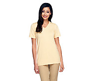 Linea by Louis DellOlio Whisper Knit V-Neck Short Sleeve Top - A233944