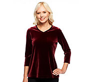 Susan Graver Knit Velvet 3/4 Sleeve V-Neck Top - A238644