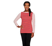 Susan Graver Butterknit Bateau Neck Long Sleeve Striped Top - A240144