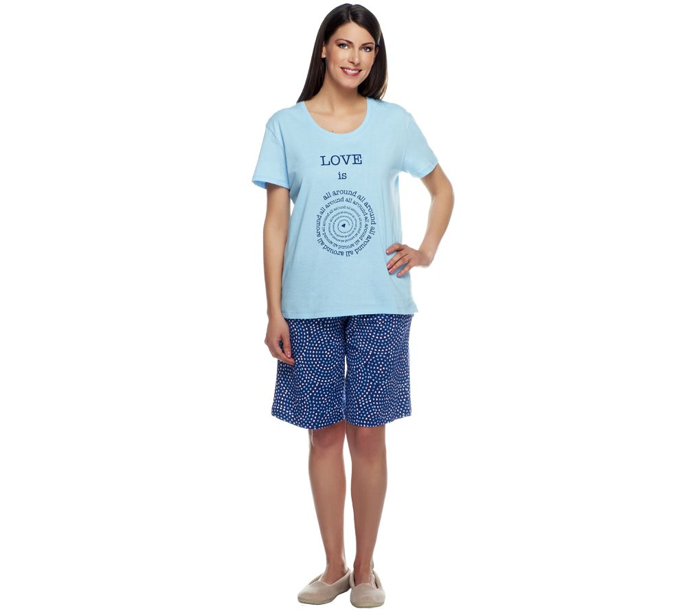 Carole Hochman Love Is All Around Bermuda Short Pajama Set - A240844
