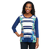 Susan Graver Liquid Knit Scoop Neck 3/4 Sleeve Printed Top - A251644
